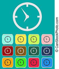 horloge, -, isolé, figure, vecteur, icône