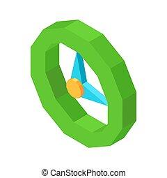 horloge, isolé, illustration, rond, mécanique, 3d, dessin animé, icône