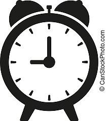 horloge, isolé, illustration, vecteur, noir, blanc