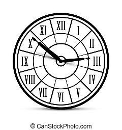 horloge, isolé, romain, vecteur, retro, fond, blanc, icône, nombres