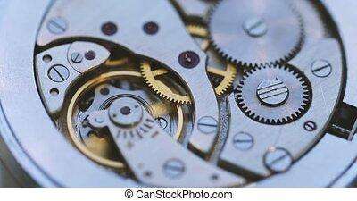 horloge, mechanisme, mainspring, toestellen
