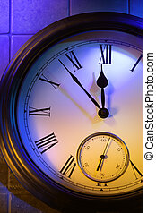 horloge, minuit, 5, mystérieux, minutes, spectacles