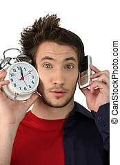 horloge, mobile, reveil, téléphone, tenue, homme