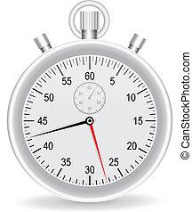 horloge, montre, métallique, vecteur, fond, blanc