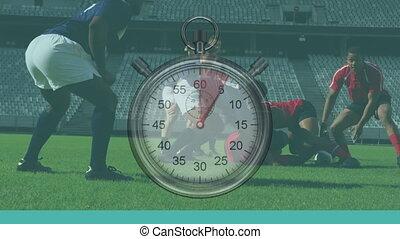 horloge, multi-ethnique, sur, équipes, jouer, deux, animation, rugby, coutil