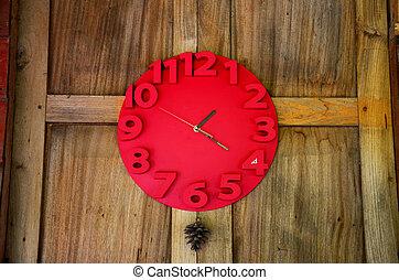horloge, mur bois, décorer, intérieur, rouges