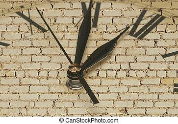 horloge, mur, brique, retro