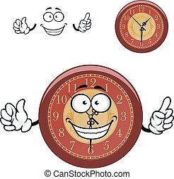 horloge mur, dessin animé, mains