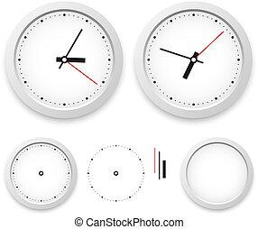 horloge, mur, isolé, arrière-plan., vecteur, gabarit, blanc