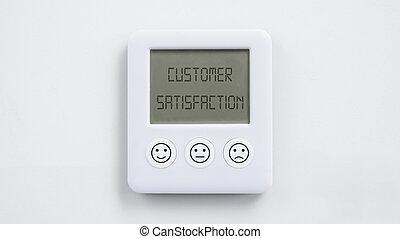 horloge, numérique, différent, boutons, service, concept, client, expressions, satisfaction, imprimé, trois