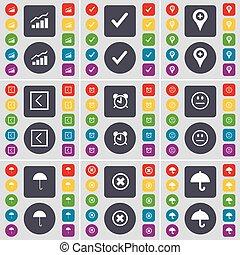horloge, parapluie, ensemble, coloré, plat, point de contrôle, reveil, arrêt, symbole., graphique, boutons, grand, vecteur, tique, flèche part, icône, ton, sourire, design.