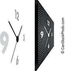 horloge, perspective, vue