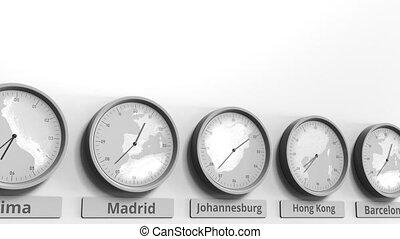 horloge, projection, dans, afrique, animation, temps, zones., conceptuel, mondiale, johannesburg, rond, sud, 3d
