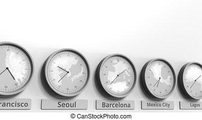 horloge, projection, dans, rond, barcelone, temps, zones., conceptuel, mondiale, animation, espagne, 3d