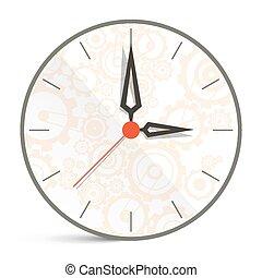 horloge, résumé, isolé, illustration, vecteur, fond, blanc