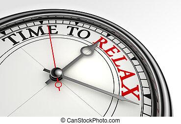 horloge, relâcher, rouges, concept, mot