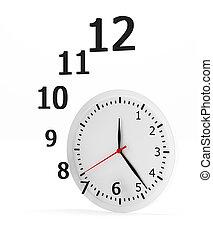 horloge, rendering., voler, -, figures, fond, blanc, 3d