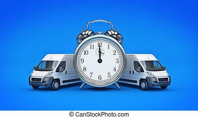 horloge, rendre, shipping., blanc, truck-fast, 3d