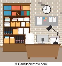 horloge, room., papier, intérieur, bureau, vecteur, livres, informatique