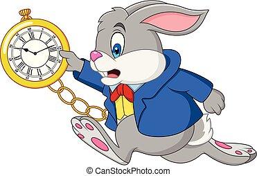 horloge, spotprent, konijn, vasthouden