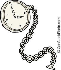 horloge, spotprent, zilver