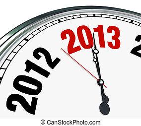 horloge, temps, faire face bas, début, coutil, année, nouveau, 2013