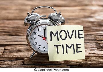 horloge, texte, reveil, note collante, temps, film