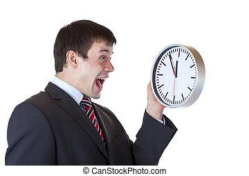 horloge, tient, cris, employé, devant, affaibli, frustré