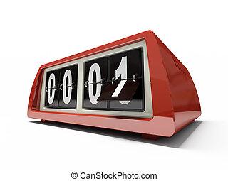 horloge, toonbank, -, vrijstaand, achtergrond, wit rood