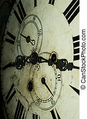 horloge, vieux façonné, figure