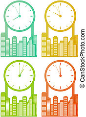 horloge, ville, gratte-ciel