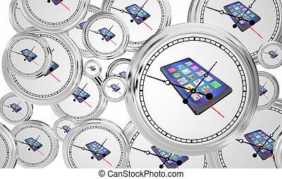 horloge, voler, illustration, téléphone portable, temps, nouveau, intelligent, 3d