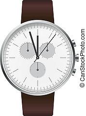 horloge, zilver, illustratie, hand