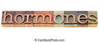 hormônios, palavra, em, letterpress, tipo