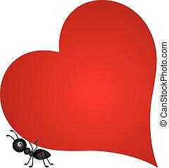 hormiga, corazón, proceso de llevar, rojo