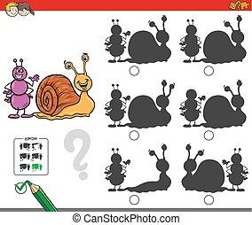 hormiga, educativo, sombra, juego, caracol