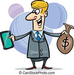 hormiga, hombre de negocios, dólares, saco, tableta