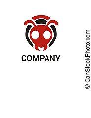 hormiga, logotipo, concepto, 2