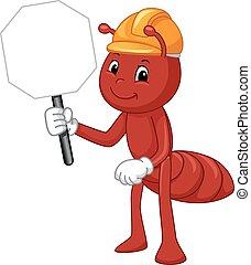 hormiga, mascota, sombrero duro, señal
