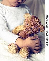 hormiga, niño, oso, teddy