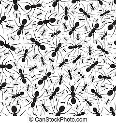 hormiga, patrón, repetir, seamless