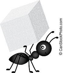 hormiga, proceso de llevar, cubo, azúcar