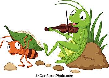 hormiga, saltamontes, caricatura