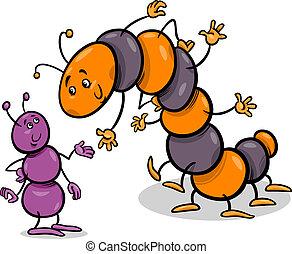 hormiga, y, oruga, caricatura, ilustración