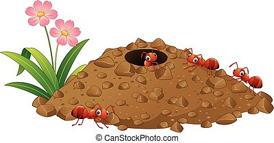hormigas, colina, colonia, caricatura, hormiga