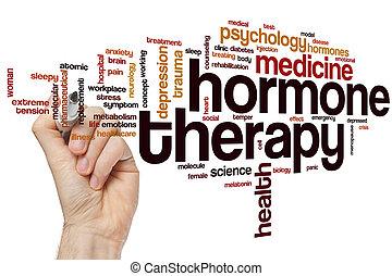 hormona, terapia, palabra, nube
