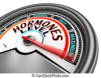 Hormones level conceptual meter indicate maximum, isolated...