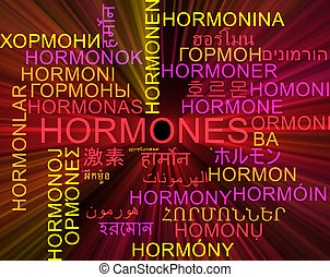 Background concept wordcloud multilanguage international many language illustration of hormones glowing light