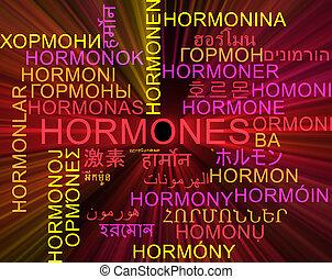 Hormones multilanguage wordcloud background concept glowing...