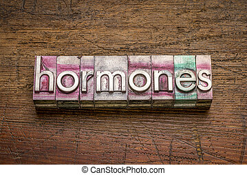 hormones word in gritty vintage letterpress metal type